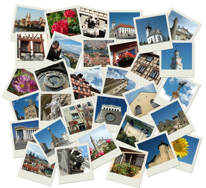 Stack of polaroid shots with european landmarks royalty free stock image
