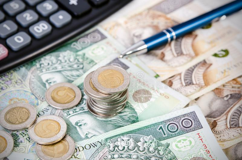 Stack of polish money business composition royalty free stock images