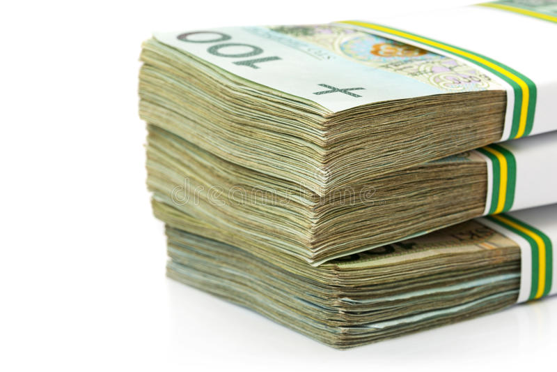Stack of polish zloty. Banknotes royalty free stock photo