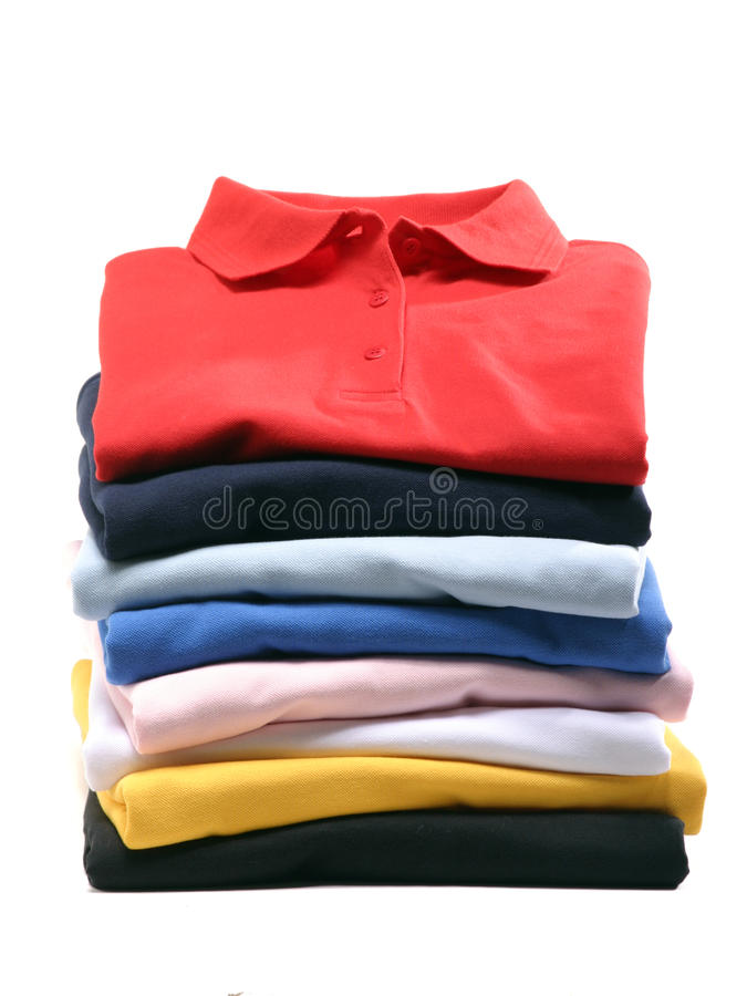Stack of Polo Shirts royalty free stock image