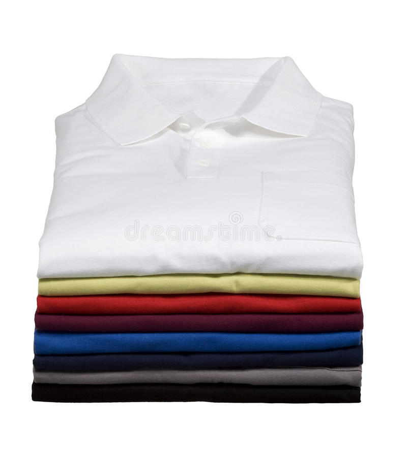 Stack of Polo Shirts stock photo