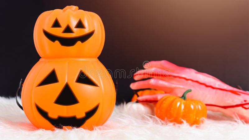 Stack Pumpkin Jack creepy in Halloween day concept royalty free stock photos