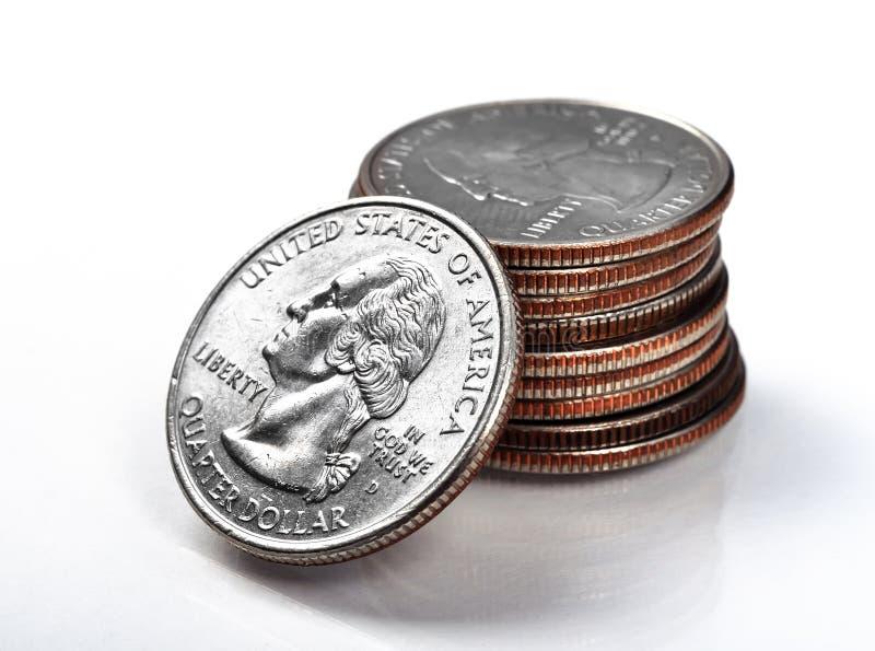 Stack quarter coins. Close up of silver stack quarter coins stock photos