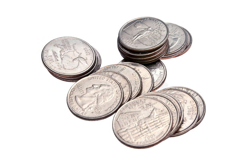 Stack of Quarters, Isolated royalty free stock photography
