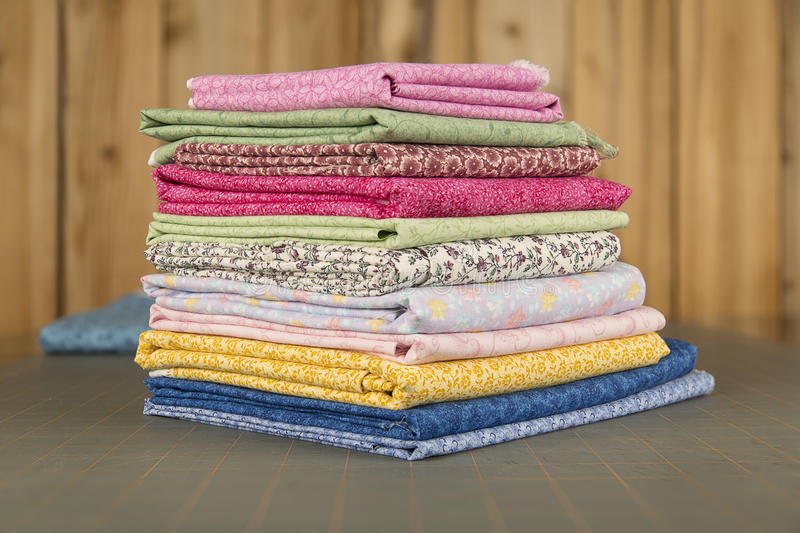 Stack of Quilt Cotton print material Focus Stacked royalty free stock photography