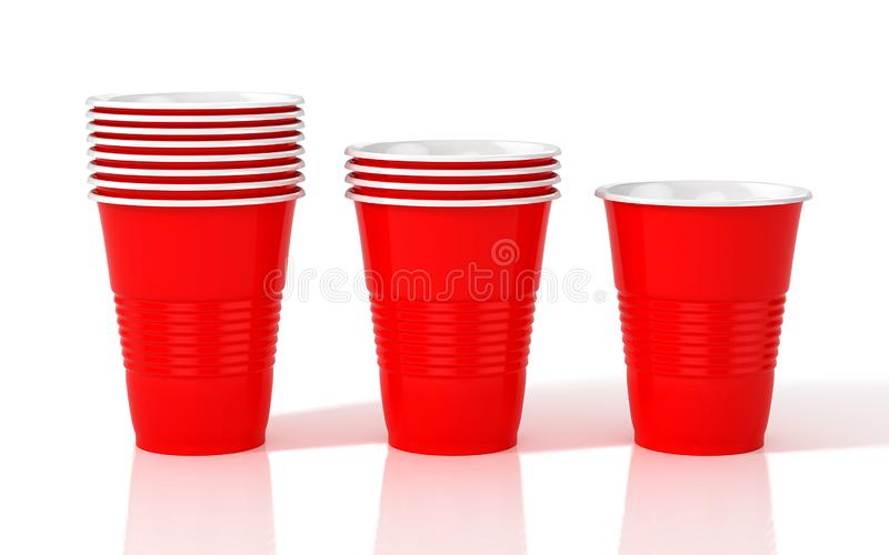 Stack of red plastic cups. stock illustration