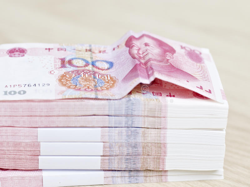 Stack of renminbi (or chinese yuan) stock photography