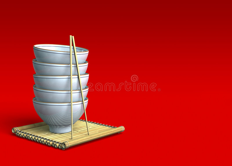 Stack of Rice Bowls on a Bamboo Mat. Stack of White Rice Bowls on a Bamboo Mat with Red Background royalty free illustration