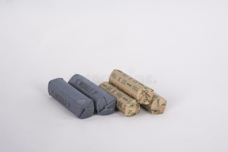 Stack of rolled coins royalty free stock images