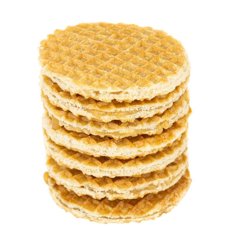 Stack of round biscuit wafers with filling isolated on white royalty free stock images
