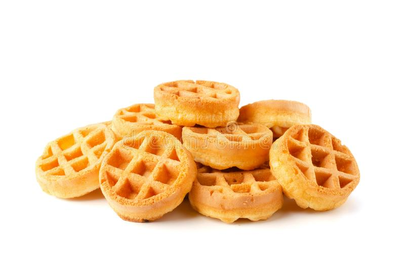 Stack of round waffles stock photo
