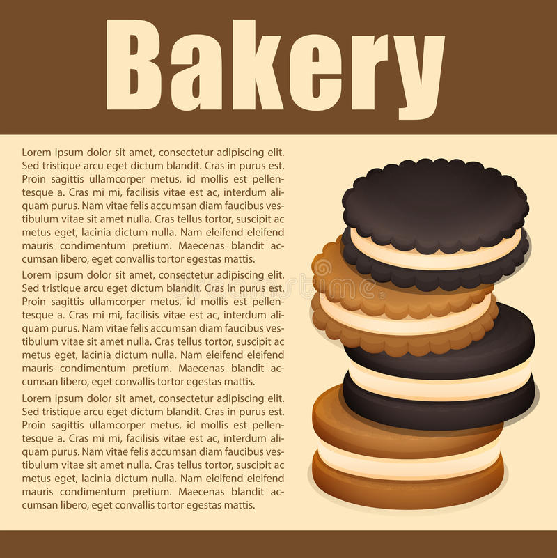 Stack of sandwich cookies and text royalty free illustration