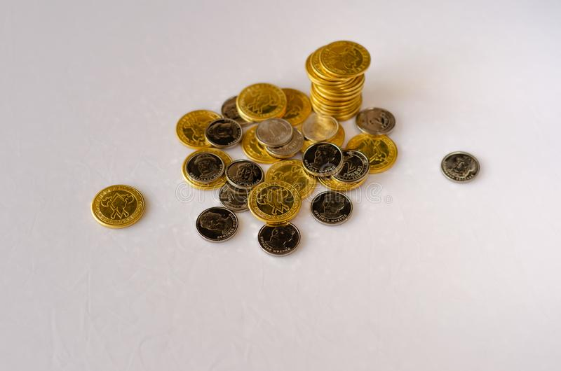 Stack of coins stock photo