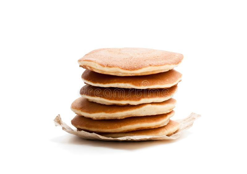 Stack of scotch pancakes isolated on white stock photos