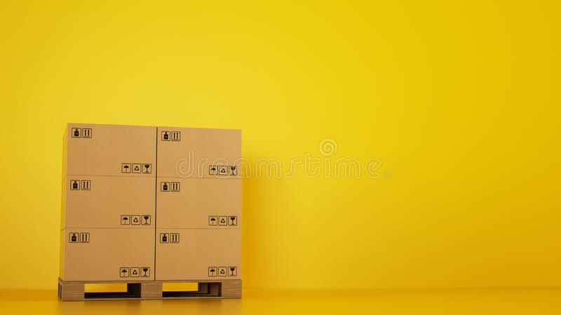 Pile of cardboard boxes on a wooden pallet with yellow background stock photo