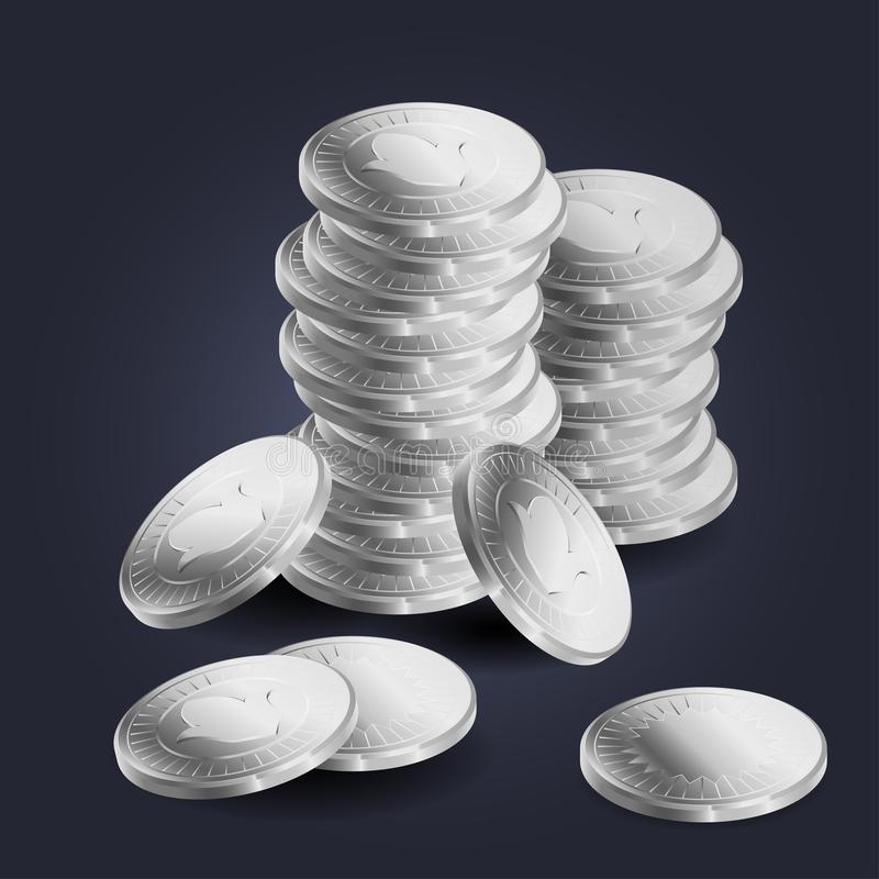 A stack of silver coins royalty free illustration