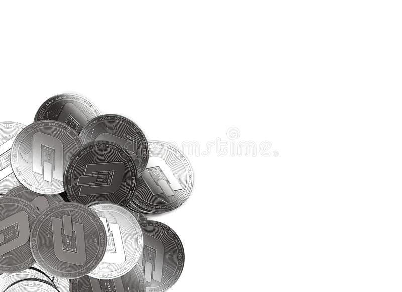 Stack of silver Dash coins in bottom-left corner isolated on white and copy space for your text. vector illustration
