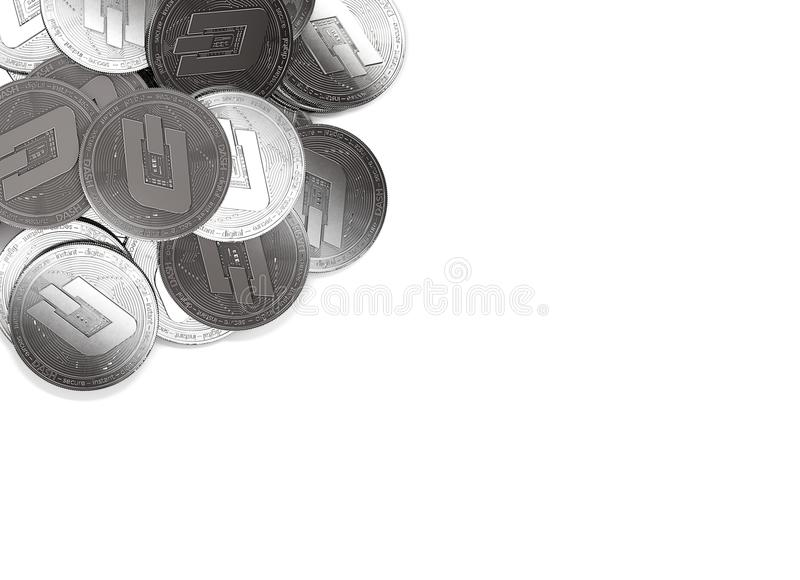 Stack of silver Dash coins in top-left corner isolated on white and copy space for your text. stock illustration
