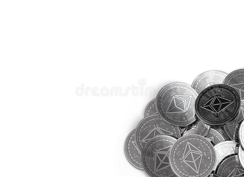 Stack of silver Ethereum coins in bottom-right corner isolated on white and copy space for your text. stock illustration