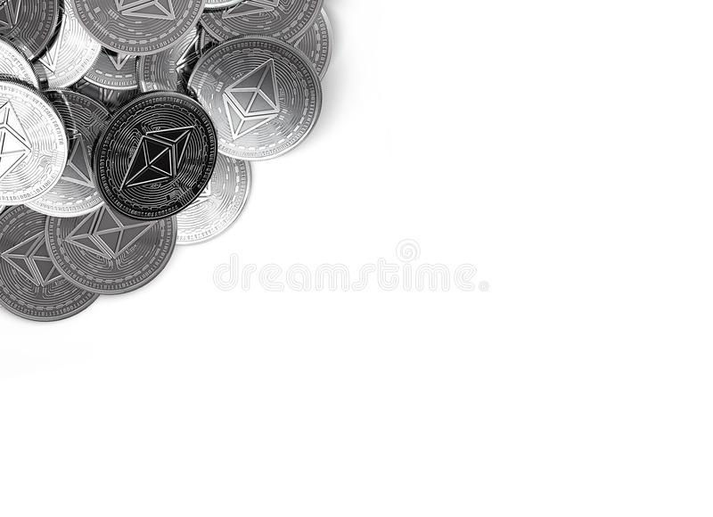 Stack of silver Ethereum coins in top-left corner isolated on white and copy space for your text. royalty free illustration