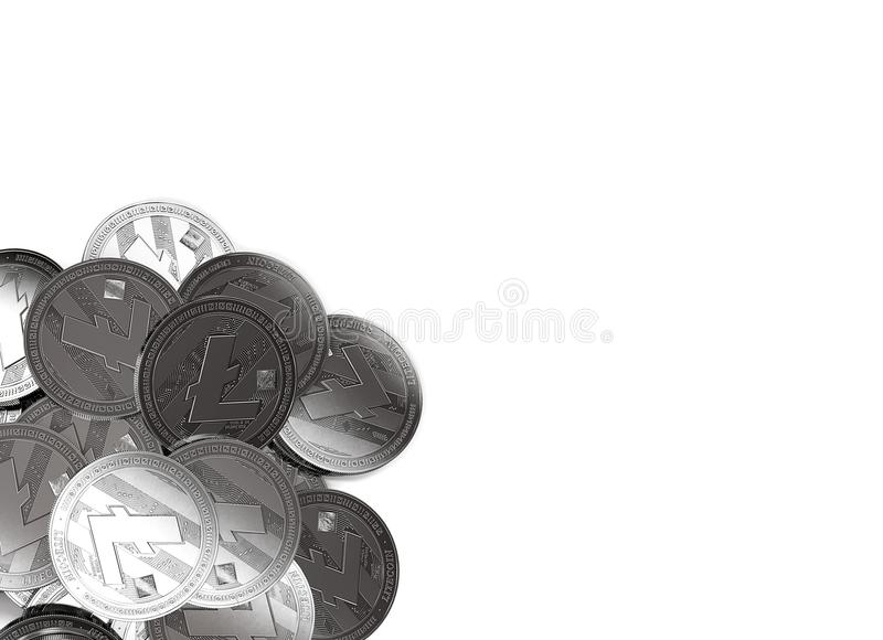 Stack of silver Litecoins in bottom-left corner isolated on white and copy space for your text. vector illustration