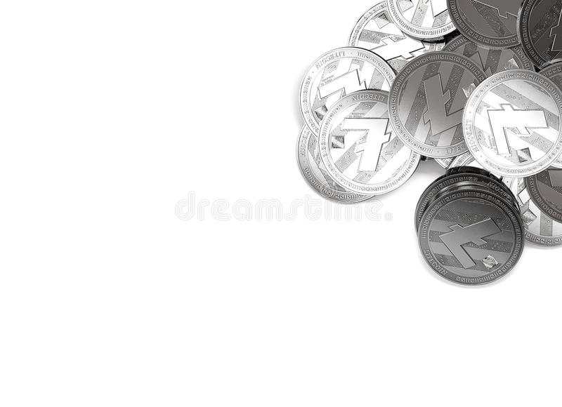 Stack of silver Litecoins in top-right corner isolated on white and copy space for your text. vector illustration