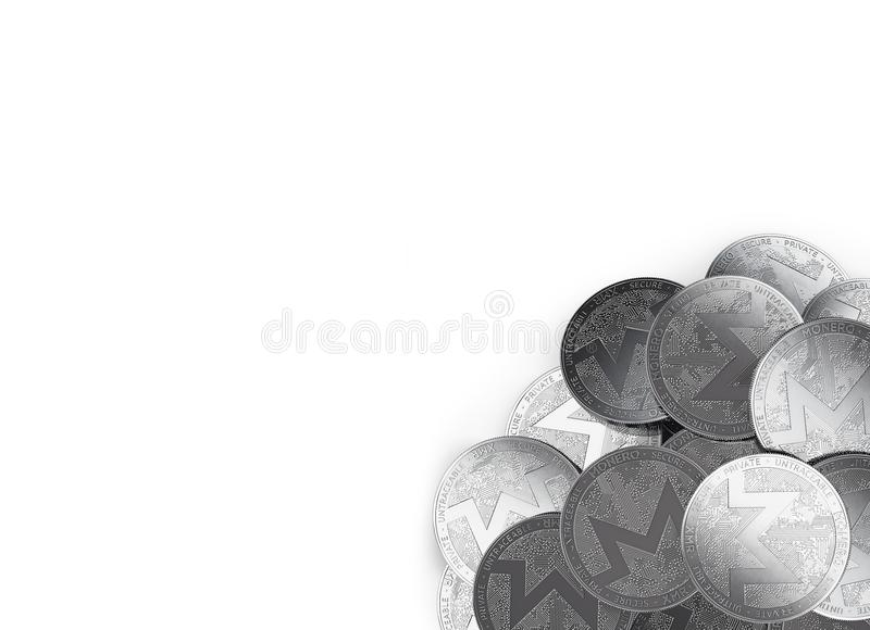 Stack of silver Monero coins in bottom-right corner isolated on white and copy space for your text. royalty free illustration
