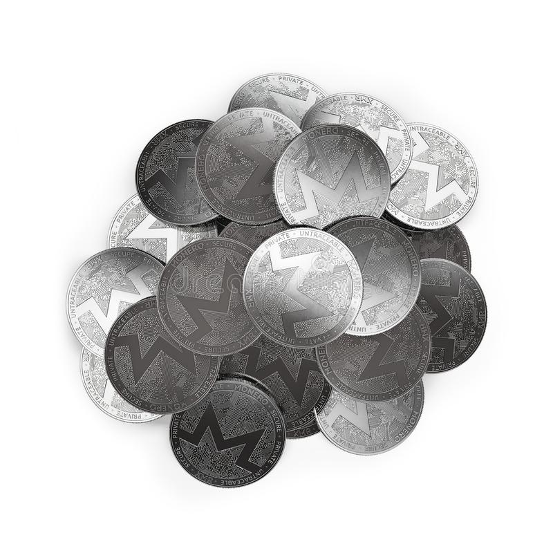 Stack of silver Monero coins in the middle isolated on white and copy space. royalty free illustration