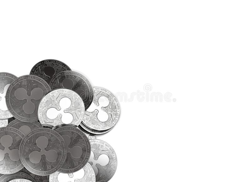 Stack of silver Ripple coins in bottom-left corner isolated on white and copy space for your text. vector illustration