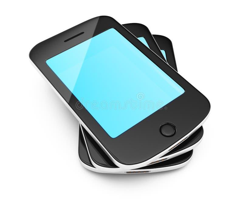 Stack of smartphones. On white background. 3d rendering illustration stock illustration