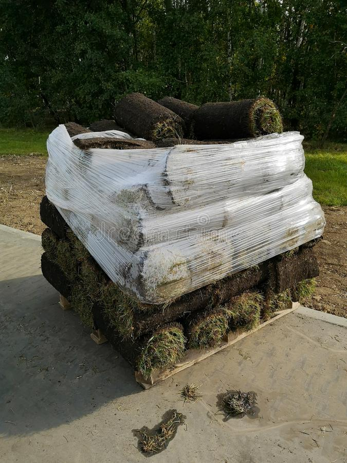 Stack of sod rolls for new green lawn installation royalty free stock photos