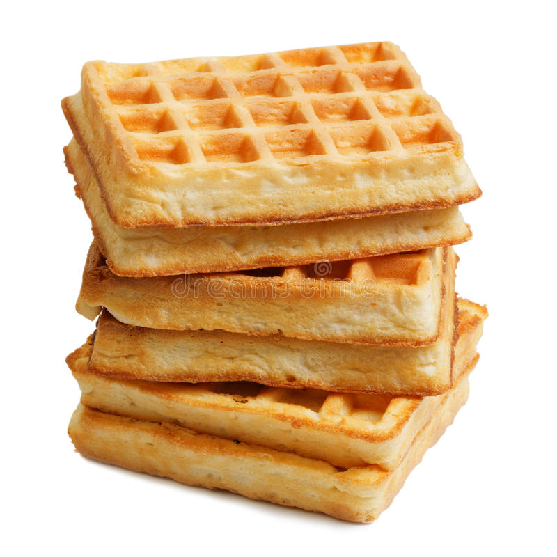 Stack of soft waffles isolated on white royalty free stock photos