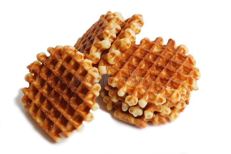 Stack of soft waffles on white stock image
