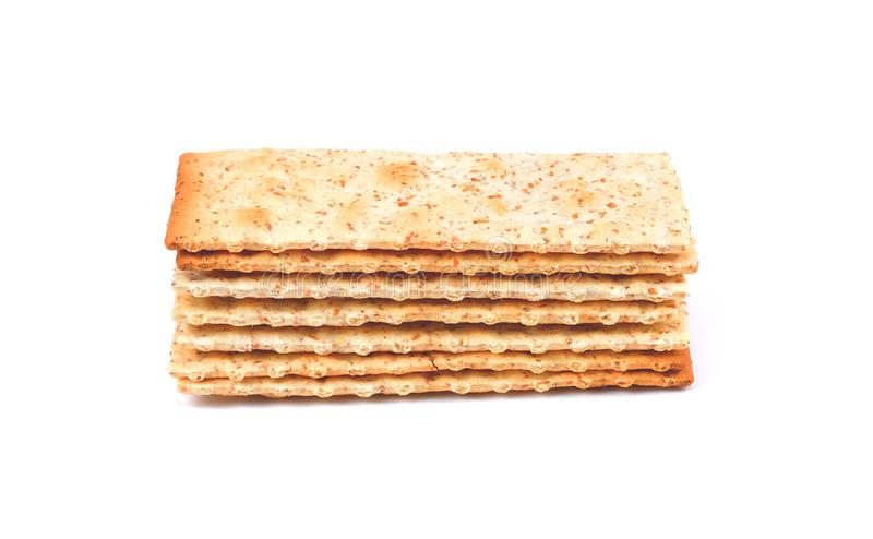 Stack of square crackers isolated on white background. Dry crack royalty free stock photo
