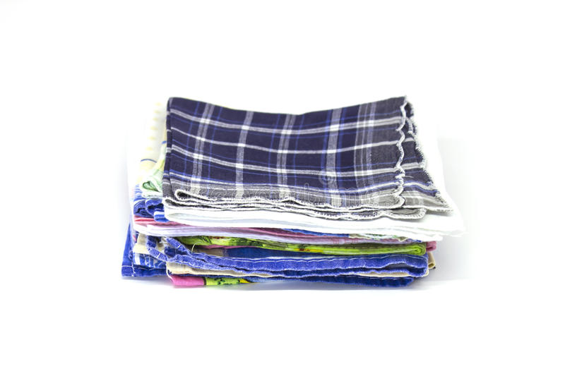 A stack of square handkerchiefs. Isolated stock images