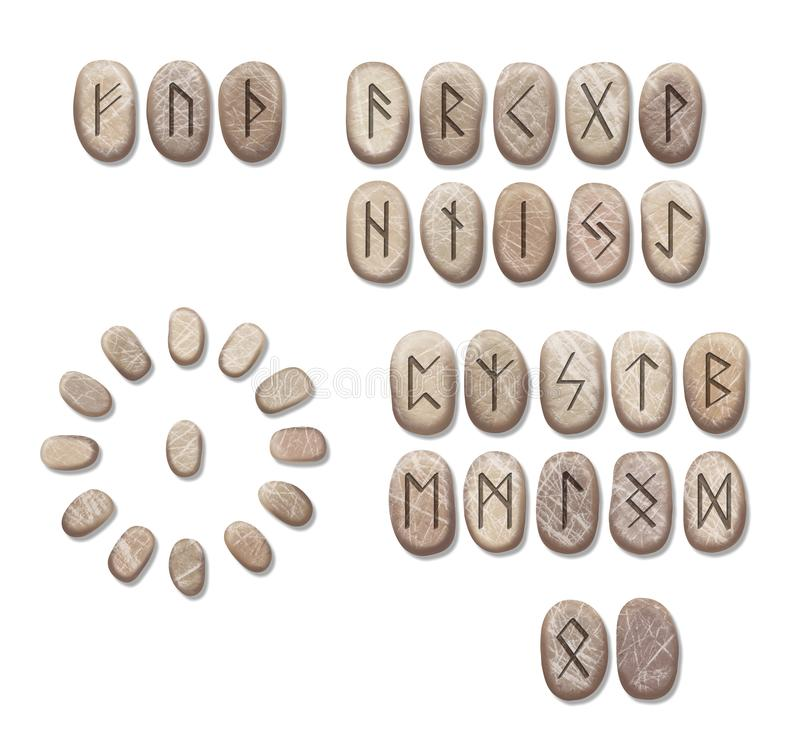 Stack of stone runes isolated on white background. Runes are cut from stone blocks. Magic symbols for esoteric divination. The. Circle of the runes for royalty free illustration