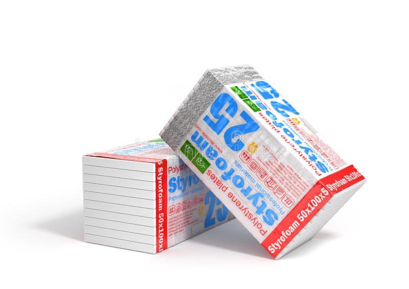Stack of styrofoam for insulation on a white background. Heating. Materials. 3d illustration royalty free illustration