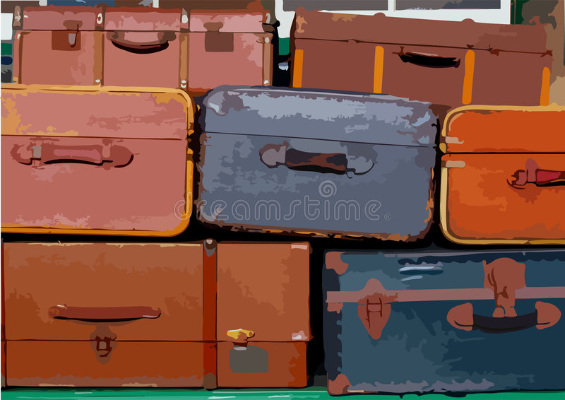 Stack of suitcases royalty free illustration
