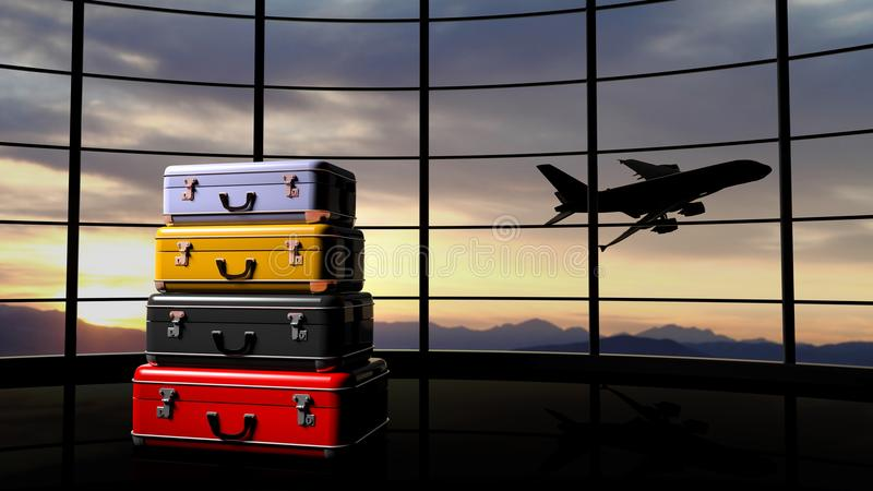 Stack of suitcases beside airpot window stock illustration