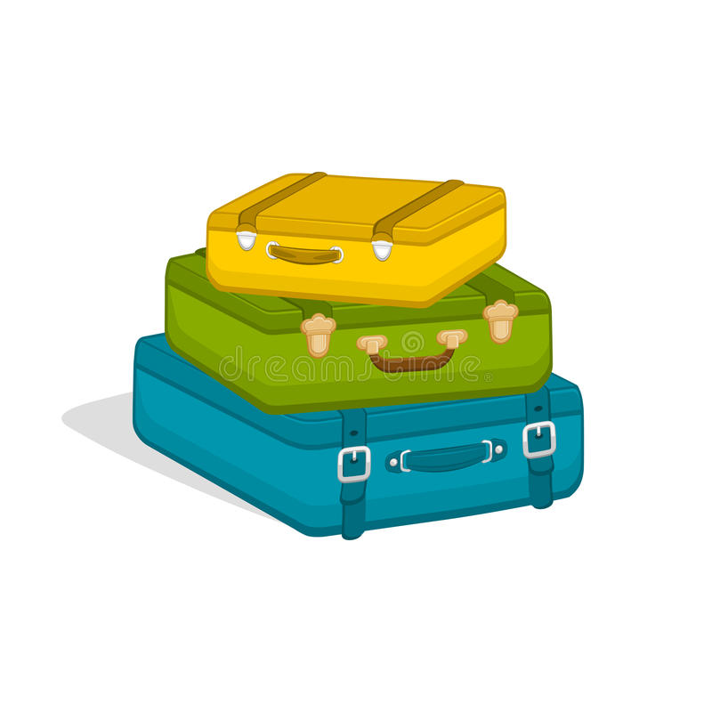 Stack of suitcases on white background. vector illustration
