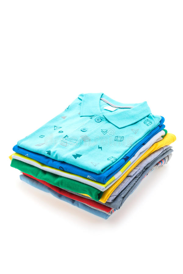 Stack of T Shirt and Polo. Colorful Stack of T Shirt and Polo isolated on white background royalty free stock images