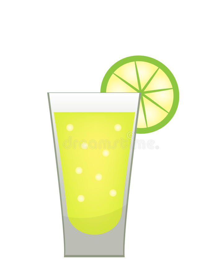 Stack of tequila with a lime slice icon flat, cartoon style. Drink on white background. Alcoholic cocktail. Vector illustration stock illustration