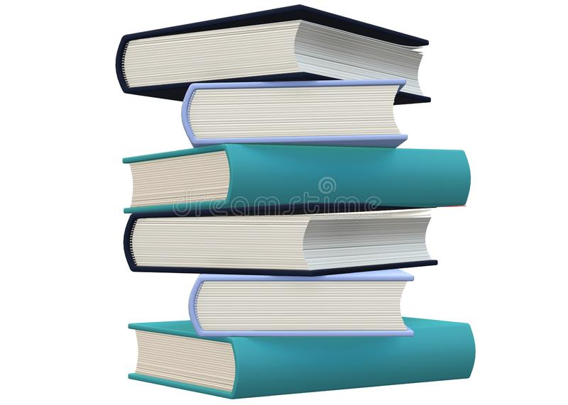 A stack of thick hard cover books against a white backdrop royalty free stock photography