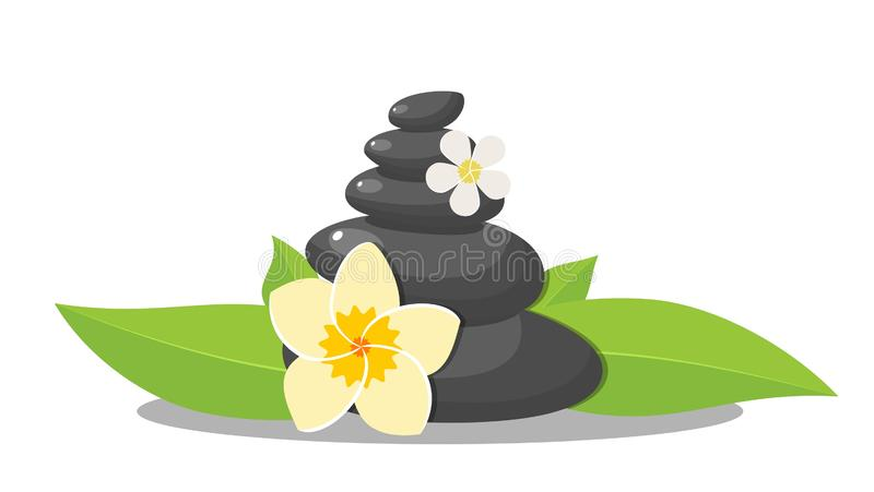 Stack of three black hot stones, royalty free illustration
