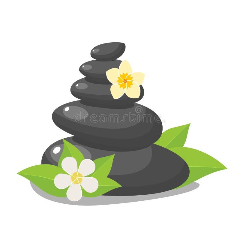Stack of three black hot stones, vector illustration