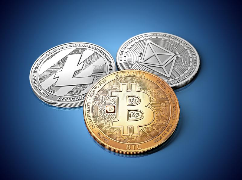 stack of cryptocurrencies: bitcoin, ethereum and litecoin together royalty free illustration
