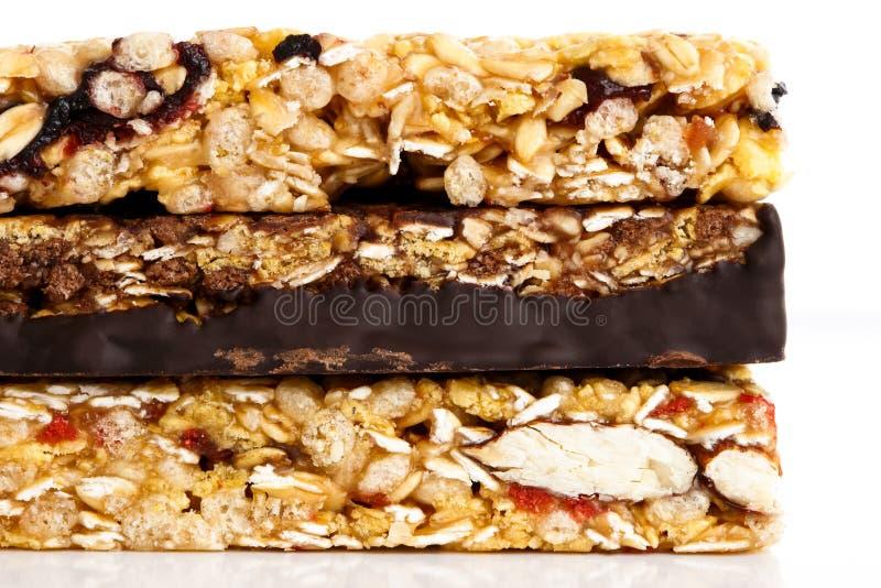 Stack of three muesli bars. stock image