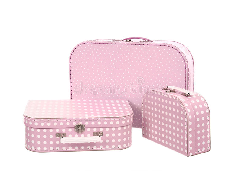 Download Stack Of Three Suitcases, Pink With White Dots Royalty Free Stock Photography - Image: 30467587