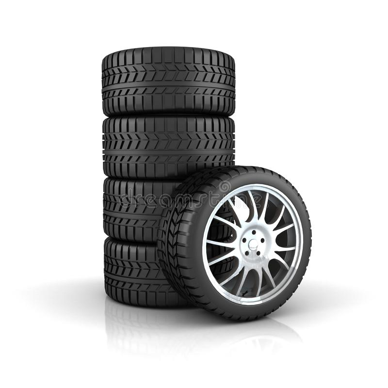 Stack of tires with alloy wheels stock illustration
