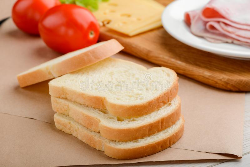 Stack of toast bread slices stock images